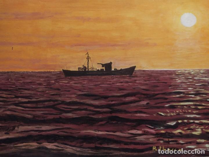 ÓLEO SOBRE TABLA FIRMADO RAFAEL IBORRA GALLACH BARCA PESCADOR LAGO MAR ATARDECER (Arte - Pintura - Pintura al Óleo Contemporánea )