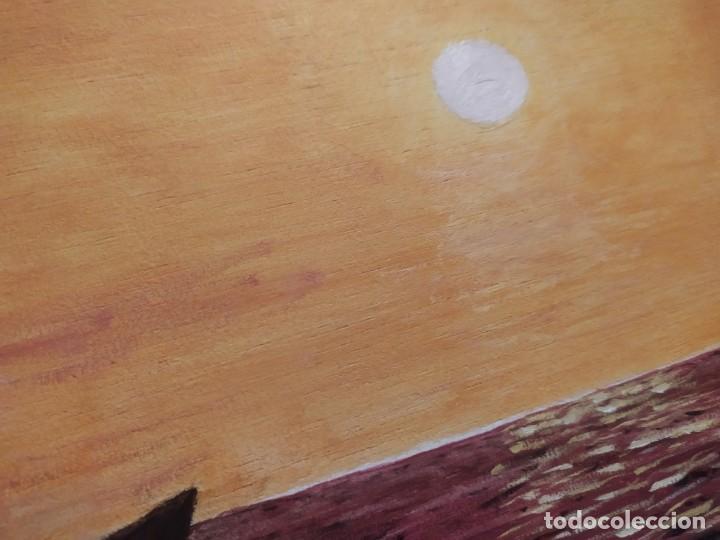Arte: ÓLEO SOBRE TABLA FIRMADO RAFAEL IBORRA GALLACH BARCA PESCADOR LAGO MAR ATARDECER - Foto 3 - 197258413