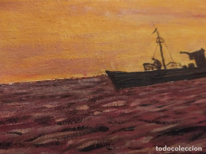 Arte: ÓLEO SOBRE TABLA FIRMADO RAFAEL IBORRA GALLACH BARCA PESCADOR LAGO MAR ATARDECER - Foto 8 - 197258413