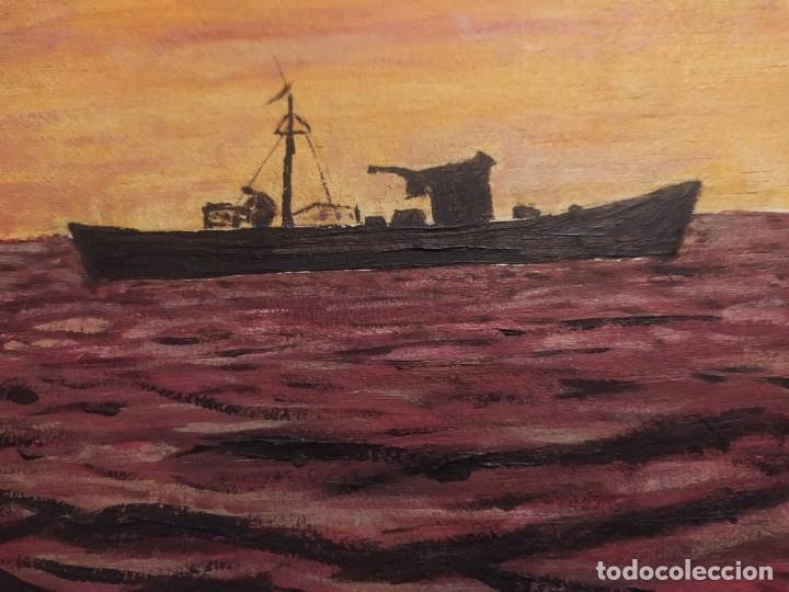Arte: ÓLEO SOBRE TABLA FIRMADO RAFAEL IBORRA GALLACH BARCA PESCADOR LAGO MAR ATARDECER - Foto 9 - 197258413