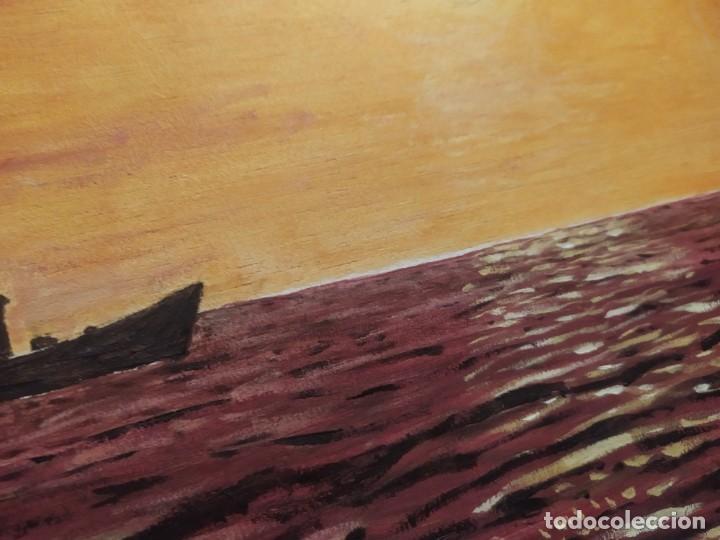 Arte: ÓLEO SOBRE TABLA FIRMADO RAFAEL IBORRA GALLACH BARCA PESCADOR LAGO MAR ATARDECER - Foto 11 - 197258413