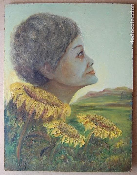 Arte: PINTURA SIMBÓLICA ORIGINAL 1950S: MUJER - GIRASOL - Foto 2 - 197282043