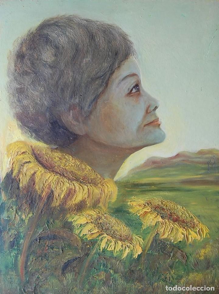 PINTURA SIMBÓLICA ORIGINAL 1950'S: MUJER - GIRASOL (Arte - Pintura - Pintura al Óleo Moderna sin fecha definida)