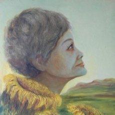 Arte: PINTURA SIMBÓLICA ORIGINAL 1950'S: MUJER - GIRASOL. Lote 197282043