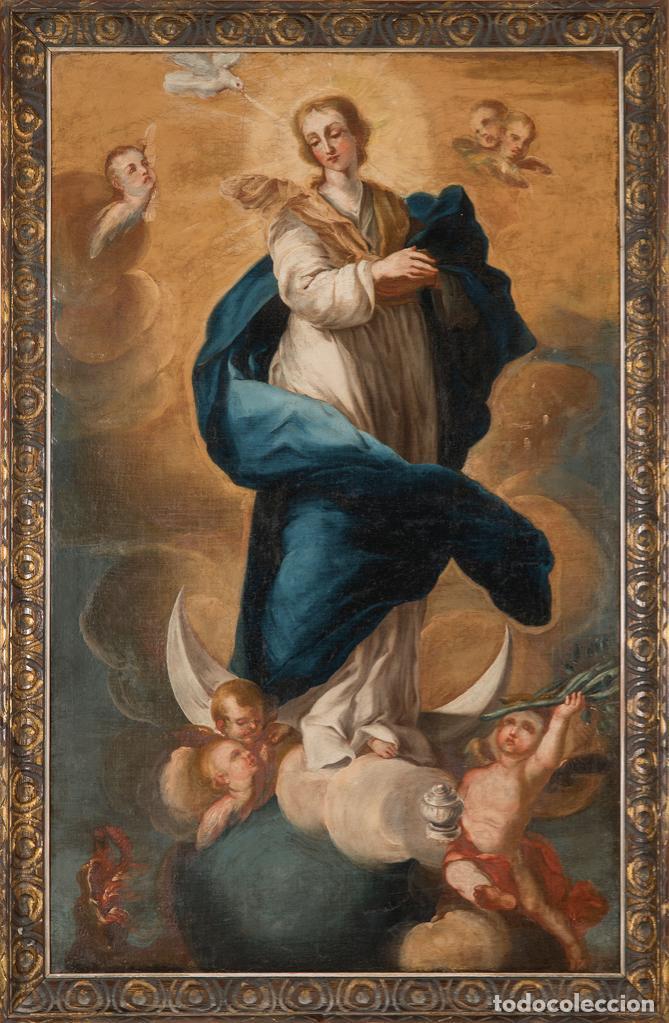 ÓLEO LIENZO INMACULADA ESCUELA VALENCIANA SIGLO XVIII (Arte - Pintura - Pintura al Óleo Antigua siglo XVII)