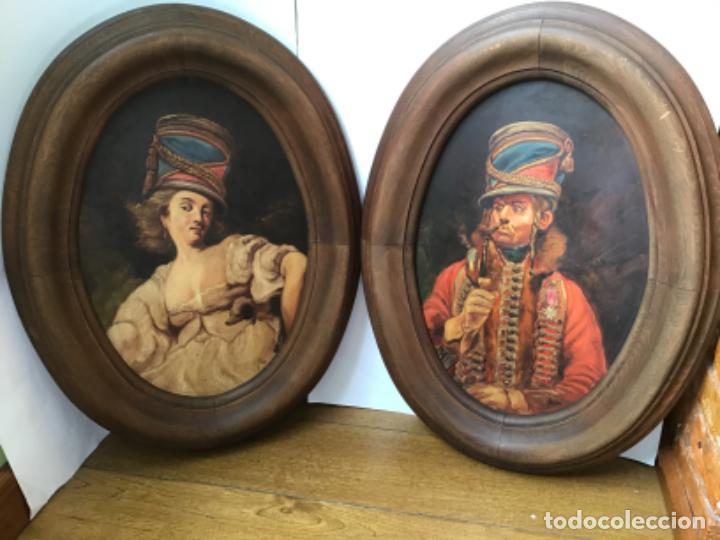 2 ANTIGUAS PINTURAS . RETRATOS DE CABALLERO Y DAMA , OLEO SIGLO XIX FIRMADOS (Arte - Pintura - Pintura al Óleo Moderna siglo XIX)