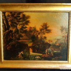 Kunst: PAISAJE FLUVIAL. ÓLEO SOBRE LIENZO, FRANCIA O ITALIA. SIGLO XVIII - XIX.. Lote 197357726