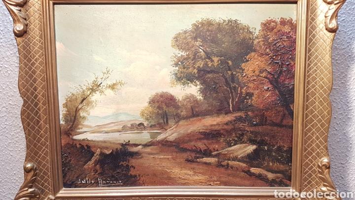 Arte: OLEO SOBRE TABLEX DE PAISAJE CON RIO FIRMADO JULIO ANTONIO. MEDIDAS 39 X 33 CM. CON MARCO. - Foto 5 - 197409022