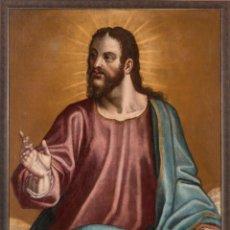 Arte: ÓLEO LIENZO CRISTO BENDICIENDO ESCUELA ESPAÑOLA SIGLO XVI . Lote 197460332