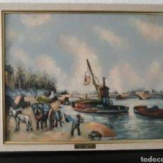 Arte: PINTURA OLEO SOBRE LINZO ,MARINA COPIA DE UNO DE LOS MAESTROS DEL IMPRESIONISMO ,1875. Lote 197518966