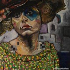 Arte: PORTRAIT. RETRATO. FEMENINO. BÉLGICA. ARTISTA BELGA. ACRÍLICO SOBRE LIENZO. 100 CM X 100 CM.. Lote 197569080