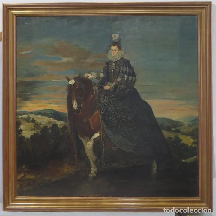 MAGNIFICO RETRATO ECUESTRE DE MARGARITA DE AUSTRIA. EMILIO SALA FRANCES (1850 - 1910). COP. VELAZQUE (Arte - Pintura - Pintura al Óleo Moderna siglo XIX)