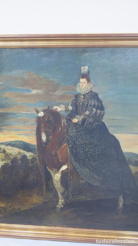 Arte: MAGNIFICO RETRATO ECUESTRE DE MARGARITA DE AUSTRIA. EMILIO SALA FRANCES (1850 - 1910). COP. VELAZQUE - Foto 14 - 197582137