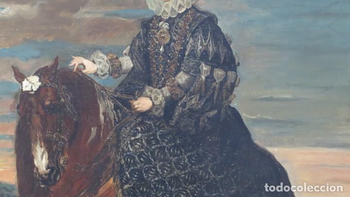 Arte: MAGNIFICO RETRATO ECUESTRE DE MARGARITA DE AUSTRIA. EMILIO SALA FRANCES (1850 - 1910). COP. VELAZQUE - Foto 17 - 197582137