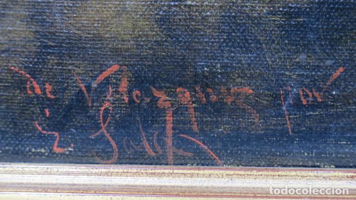 Arte: MAGNIFICO RETRATO ECUESTRE DE MARGARITA DE AUSTRIA. EMILIO SALA FRANCES (1850 - 1910). COP. VELAZQUE - Foto 18 - 197582137