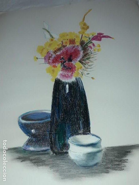 BELLA PINTURA BODEGÓN FLORES A PASTEL AÑO 1999 (Arte - Pintura Directa del Autor)