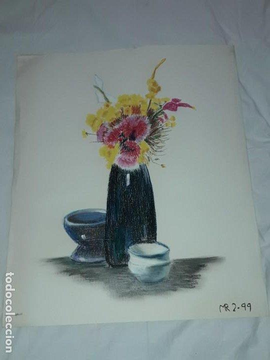 Arte: Bella pintura Bodegón flores a pastel año 1999 - Foto 2 - 197746136