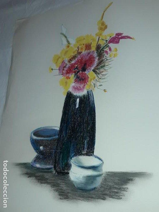Arte: Bella pintura Bodegón flores a pastel año 1999 - Foto 3 - 197746136