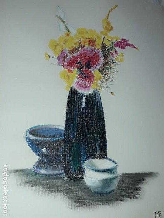 Arte: Bella pintura Bodegón flores a pastel año 1999 - Foto 4 - 197746136