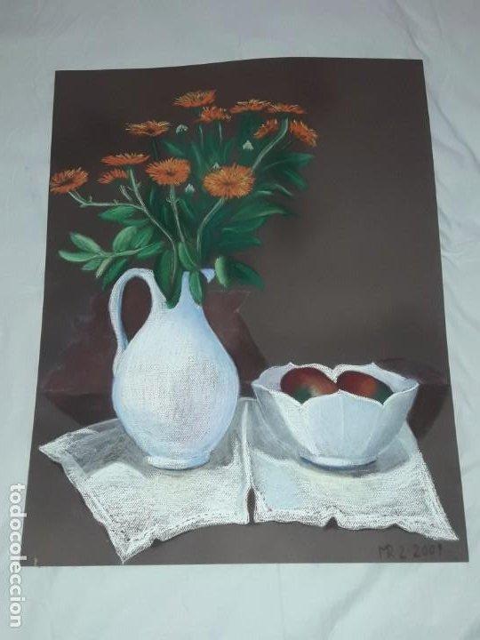 BELLA PINTURA BODEGÓN JARRA FLORES CENTRO MESA A PASTEL AÑO 2001 (Arte - Pintura Directa del Autor)