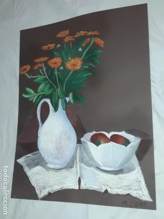 Arte: Bella pintura Bodegón jarra flores centro mesa a pastel año 2001 - Foto 2 - 197746731