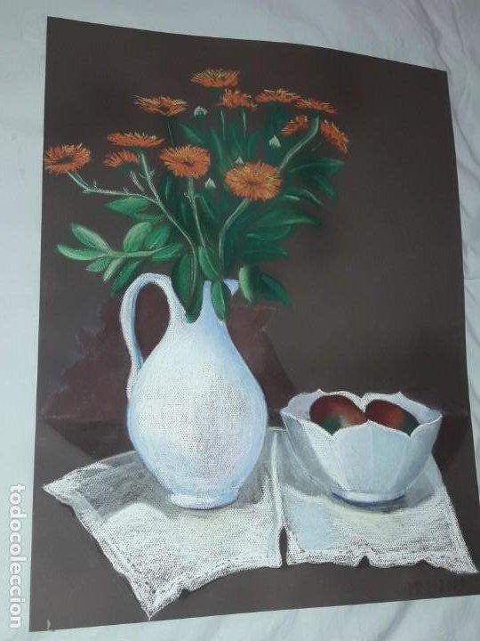 Arte: Bella pintura Bodegón jarra flores centro mesa a pastel año 2001 - Foto 3 - 197746731