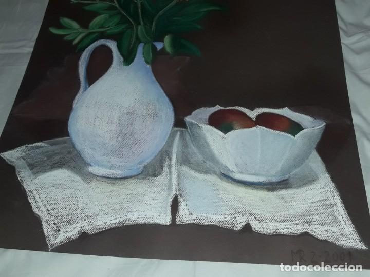 Arte: Bella pintura Bodegón jarra flores centro mesa a pastel año 2001 - Foto 4 - 197746731