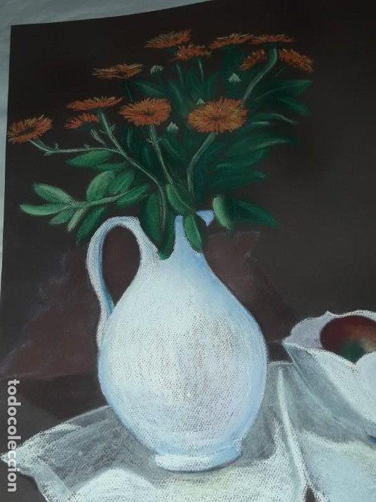 Arte: Bella pintura Bodegón jarra flores centro mesa a pastel año 2001 - Foto 5 - 197746731