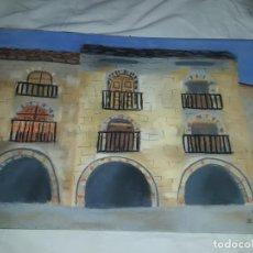 Arte: BELLA PINTURA PLAZA PORTICADA DE AINSA ORDESA A PASTEL AÑO 2003. Lote 197752940