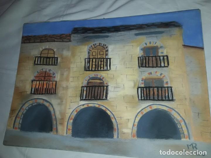 Arte: Bella pintura Plaza Porticada de Ainsa Ordesa a pastel año 2003 - Foto 2 - 197752940
