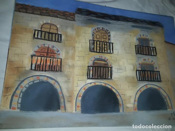 Arte: Bella pintura Plaza Porticada de Ainsa Ordesa a pastel año 2003 - Foto 3 - 197752940
