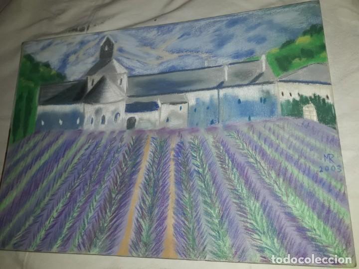 Arte: Bella pintura Campo de lavanda Provenza a pastel 2002 - Foto 2 - 197755937