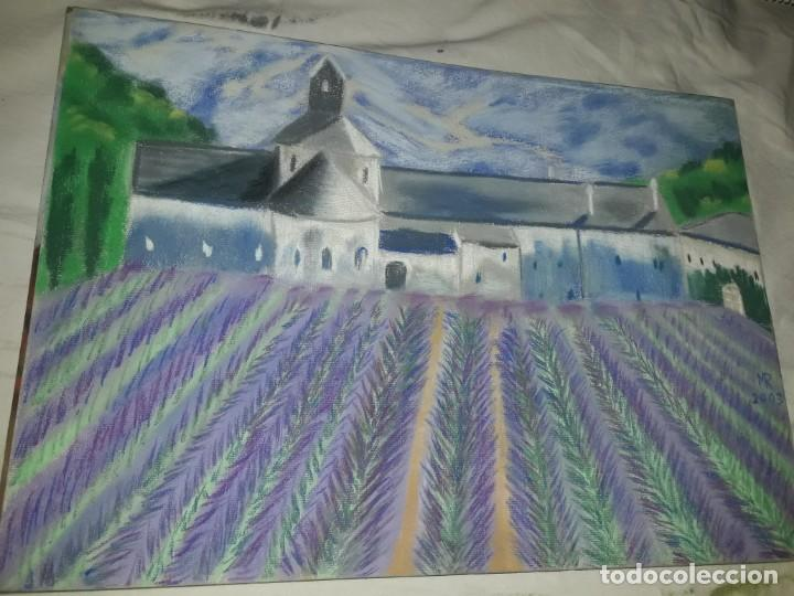 Arte: Bella pintura Campo de lavanda Provenza a pastel 2002 - Foto 3 - 197755937