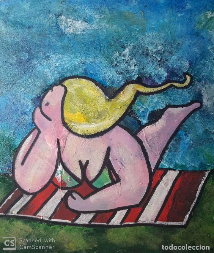 MANOLO IBAÑEZ. LA TOALLA. ACRÍLICO SOBRE TABLA 42 X 28 CM (Arte - Pintura Directa del Autor)