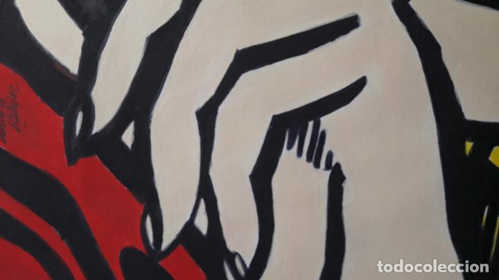 Arte: MANOLO IBÁÑEZ. MUJER LLORANDO. ACRÍLICO SOBRE CARTULINA 65 X 50 CM - Foto 4 - 197764385