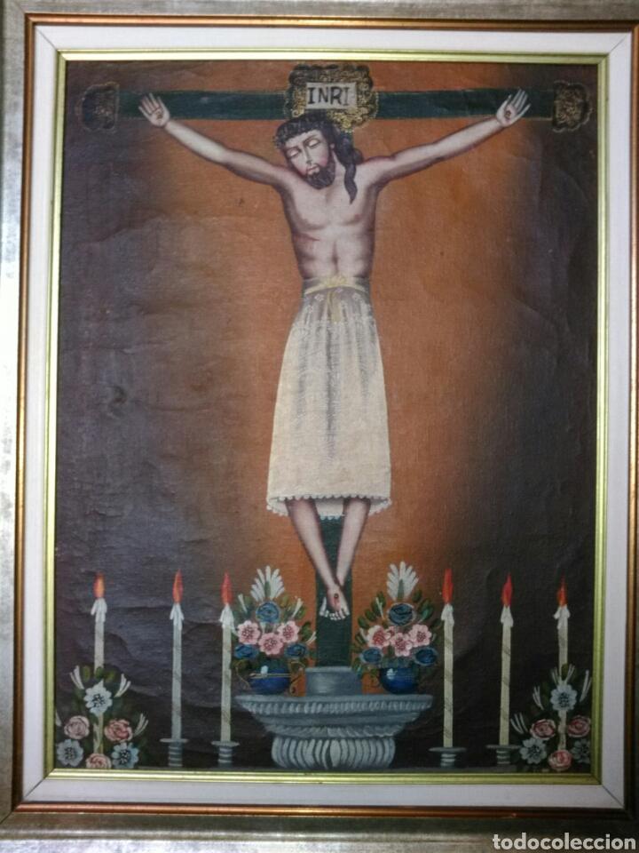 Arte: MAGNÍFICO ÓLEO. CUADRO CON CRISTO S. XVIII-XIX. MARCO DE MADERA PAN DE ORO. - Foto 2 - 197809596