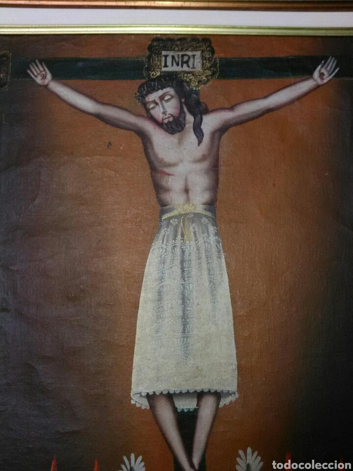 Arte: MAGNÍFICO ÓLEO. CUADRO CON CRISTO S. XVIII-XIX. MARCO DE MADERA PAN DE ORO. - Foto 3 - 197809596