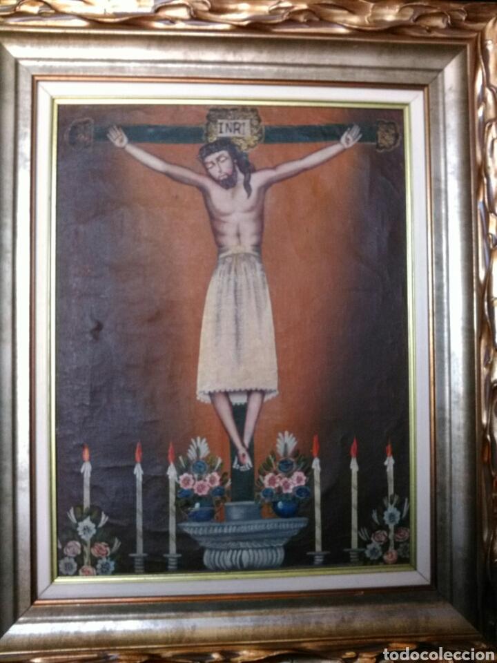 Arte: MAGNÍFICO ÓLEO. CUADRO CON CRISTO S. XVIII-XIX. MARCO DE MADERA PAN DE ORO. - Foto 9 - 197809596