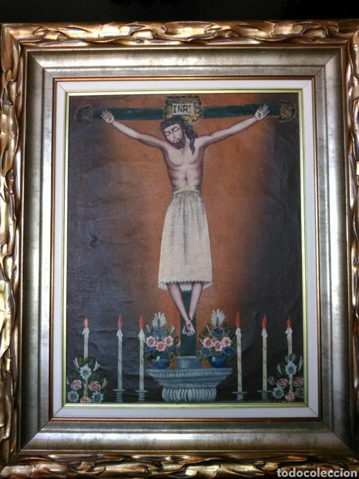MAGNÍFICO ÓLEO. CUADRO CON CRISTO S. XVIII-XIX. MARCO DE MADERA PAN DE ORO. (Arte - Pintura - Pintura al Óleo Antigua siglo XVIII)