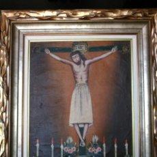 Arte: MAGNÍFICO ÓLEO. CUADRO CON CRISTO S. XVIII. MARCO DE MADERA PAN DE ORO.. Lote 197809596