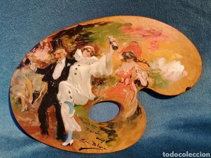 PALETA PINTADA POR LUIS BLESA Y PRATS. CARNAVAL (Arte - Pintura - Pintura al Óleo Moderna sin fecha definida)