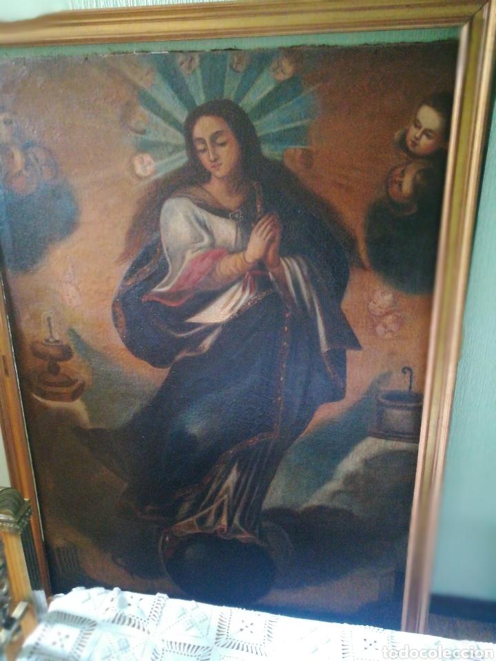 Arte: Virgen óleo sobre lienzo. Siglo XVII Gran tamaño - Foto 12 - 184694931
