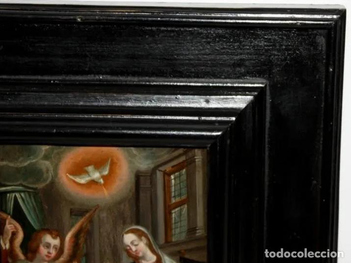 Arte: ÓLEO S/COBRE -ANUNCIACIÓN-. ESCUELA ITALIANA FINALES SIGLO XVII. DIMENSIONES.- 31.5X26 CMS - Foto 11 - 197926362