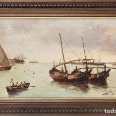 Arte: ÓLEO LIENZO VISTA DEL PUERTO DE HUELVA FIRMADO CASTILLO GARCÉS 1888 DEDICADO A CÁNOVAS DEL CASTILLO. Lote 198056363