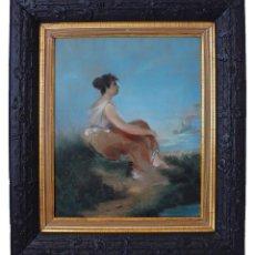 Arte: PORTRAIT FEMME GRECQUE RETRATO CARBON PASTEL MUJER CHICA JOVEN GRIEGA GRECIA PARTENON MAR PARTHENON. Lote 198175858