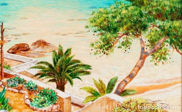 Arte: David Planet - Barcelona 1.977 - Óleo - Enmarcado Cala de Mallorca - Foto 5 - 198178221