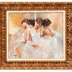 Art: DOMINGO ALVAREZ - BARCELONA 1.942 BAILARINAS - ÖLEO SOBRE LIENZO. Lote 198181821