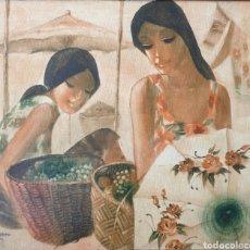 Arte: ESCUELA TAILANDESA - JOVENES ASIÁTICAS.OLEO/TELA.FIRMADO.1979.. Lote 198186572