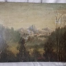Arte: PAISAJE ANTIGUO PINTADO AL OLEO. FIRMADO.. Lote 198216716