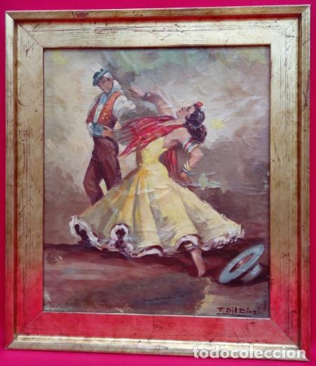 ÓLEO S/LIENZO, MUY BIEN ENMARCADO, DE FÉLIX GIL DÍAZ, PINTOR DE MÁLAGA. DIM.- 52X46 CMS. (Arte - Pintura - Pintura al Óleo Antigua sin fecha definida)